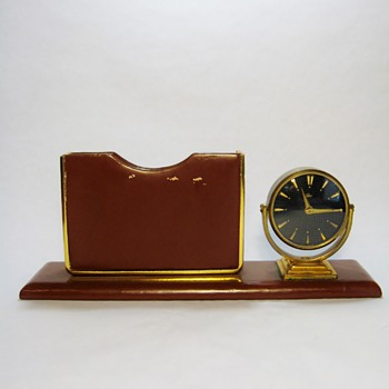 VINTAGE DUNHILL & EMES CLOCK  DESK SET - W.GERMANY
