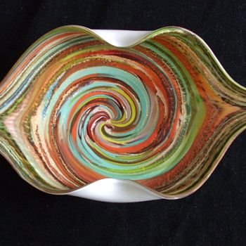 Funky & Kiss-able 1960-70's MURANO Cased Glass Bowl with Aventurine