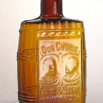 """Cleve & Steve"" 1/2 pt. political liquor flask - Bottles"