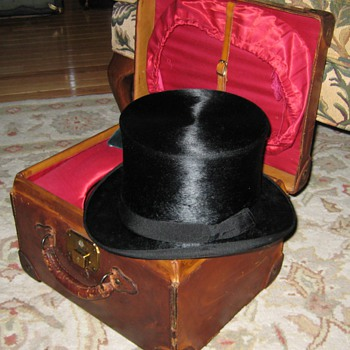 Marshall-Field & Co. Top Hat Case and Beaver Silk Top Hat - Hats