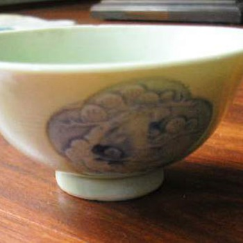 Celadon glaze under blue  Tea Bowl   very old - Asian