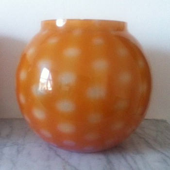 An unusual cased ball vase with white spots ?ancient or modern? - Art Glass