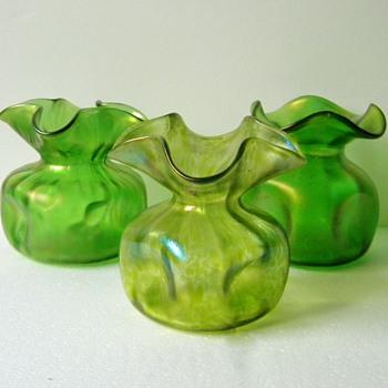 Art Nouveau Trio of Loetz Christopher Dresser's: Diana Ciselé, Creta Rusticana & Creta Glatt Vases  - Art Nouveau