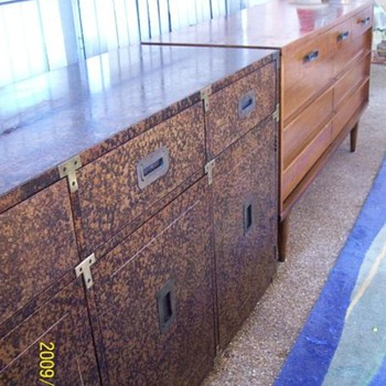 Vintage - Henredon - 60's/70's Henredon Faux Tortoishell Campaign Buffet - Server  - Rare