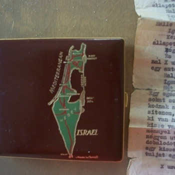 Leather Cigarette Case with Israel Map and Unknown Letter Inside (Hungarian?) - Tobacciana