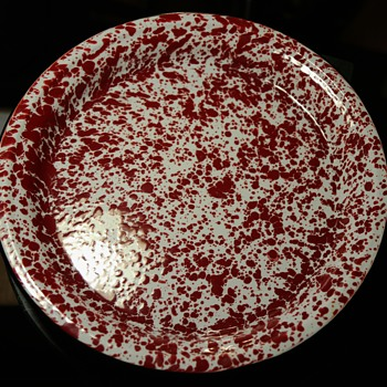 Large Red Agateware Platter - Kitchen