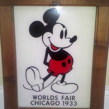 Mickey Mouse Glass Sign from 1933 Worlds Fair in Chicago - Advertising