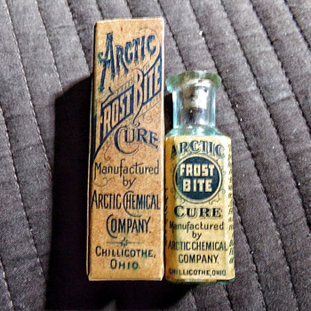 """Arctic Frost Bite Cure"" circa 1898 boxed, labeled, and embossed."