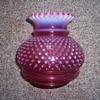 UNKNOWN FENTON? CRANBERRY HOBNAIL UNCUT LAMP SHADE?