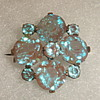 Genuine Antique Czech Saphiret Glass Brooch