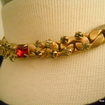 Kafin N.Y. Rhinestone and Red Glass Links Necklace - Costume Jewelry