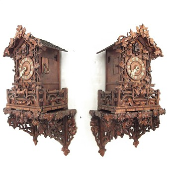 Johann Baptiste Beha,   1875,  heavy carved, 8-day,  twin fusee, mantle cuckoo clock.  (with wall bracket)  - Clocks