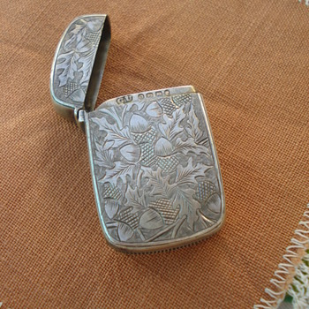 A sterling English match holder