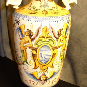 """Societa Ceramica de Colonnata"" 16"" raffaellesco cherub handled vase - Art Pottery"