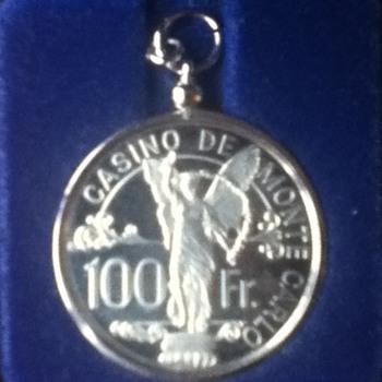Monte Carlo Casino 100-Franc Silver Chip