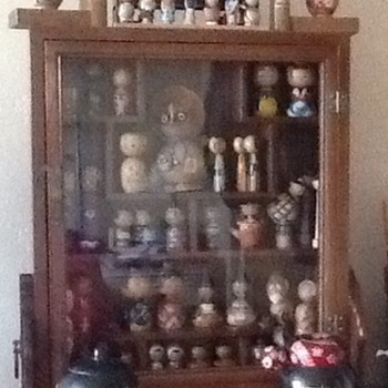 New purchases - cabinet & giant kokeshi - Dolls
