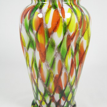 "RARE Czech Art Deco Glass Vase Unusual decor ""Lattice and Spots""  ca 1920's - 30's - Art Glass"