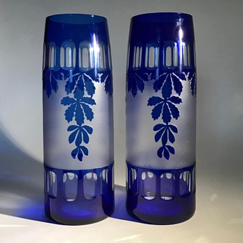 Kralik Pair of Blue Cut Glass Vases PN5349/3 - Art Glass