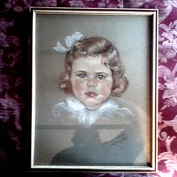 "Pastel Sketch ""Constance Bosworth Age 3""/15"" x 19"" Framed / By Delores R. (Ridings)-Van Duzer / Circa 1936 - Visual Art"