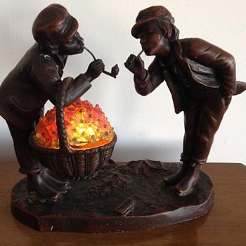 Antique figurine bronze lamp - two smoking men - Lamps