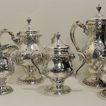 FRANK M. WHITING & COMPANY - Hand Chased Sterling Tea Set