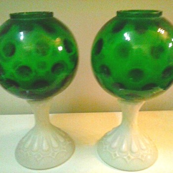 """Fenton"" FTD # 1021 Green ""Coin"" Dot Optic and Milk Glass Base Ivy Balls /Circa 195o's"