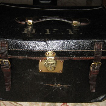 Antique English Patent Leather Trunk