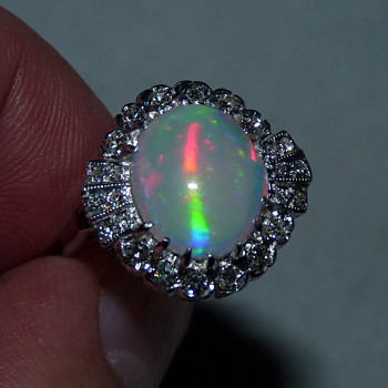 Unusual Coober Pedy Cat's Eye Crystal Opal in Art Deco 14k WG & Diamond Ring - Fine Jewelry