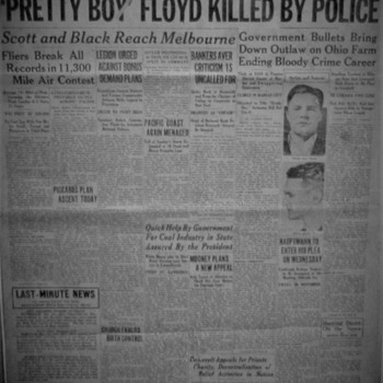"""Johnstown Evening Democrat """"Pretty Boy Floyd Killed By Police"""" (October 23,1934) And Original Owner Of Newspaper - Paper"""