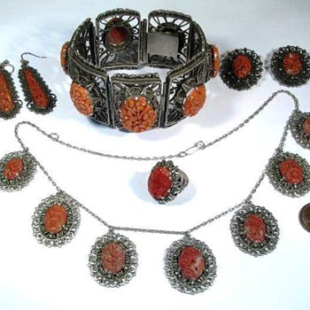 Antique Carved Coral Chinese Set - Fine Jewelry