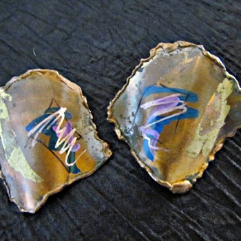 Late 20th Century Hand made Copper Earrings signed