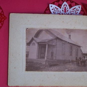 VINTAGE PHOTO, HOUSE & LADY IN BUGGY--ISN'T THE HOUSE LEANING DREADFULLY, OR IS IT JUST ME??