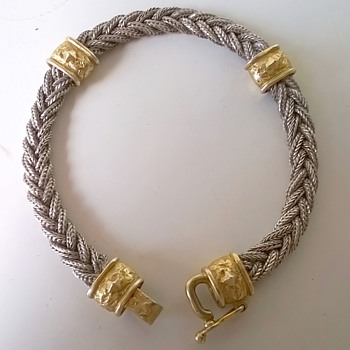 Sterling Silver & Gold Overlay Woven Braid Bracelet Flea Market Find $1.00