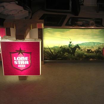 Lone Star Vintage Motorize Clock Lighted Sign
