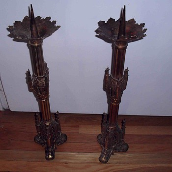 Old Church gothic brass candlesticks.