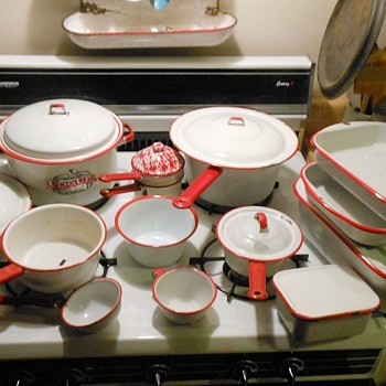 White Enamelware Withe Red Trim - Kitchen