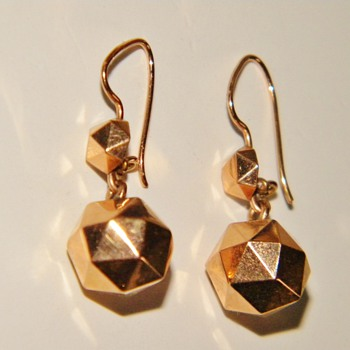 Antique Victorian Hexigon Ball Dangle Earrings 18k 750 Rose Gold - Fine Jewelry