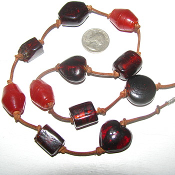 Old Glass Trade (?) Bead Necklace. Large Translucent Red & Opaque Orange... Leather cord. - Costume Jewelry