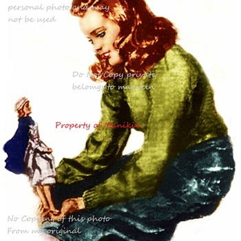 WWII Childs Sewing manikin and photo . - Posters and Prints