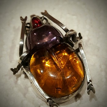 Antique Victorian glass and silver bug.