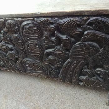 Beautiful Carved Peacock Chest