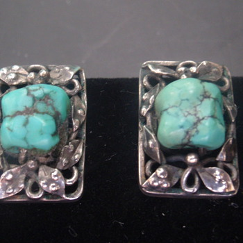 Arts & Crafts Turquoise Earrings