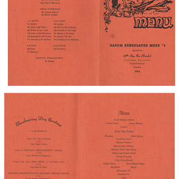 29th Signal Battalion Germany  Thankgiving menu and napkin