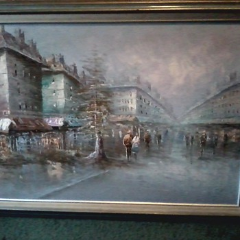 Mid Century Impressionist Paris Street Scene / Oil on Canvas / by Tam Son - Mid-Century Modern