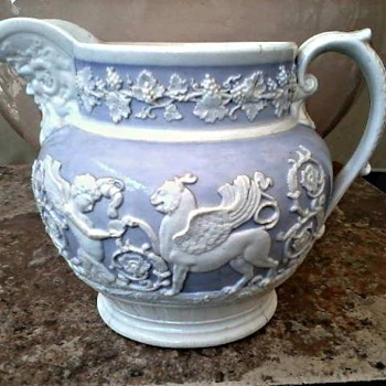 Elegant Lavender and White Pitcher /Neo Classical Raised Design/Unmarked (Spode??) and Unknown Age