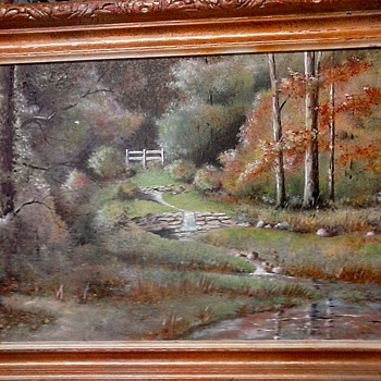 "Unusual Double Sided Oil Painting On Panel/ 16"" x 24"" With Gilt Frame/Signed ""Edmund (E.J.) O'Brien""/Circa 20th Century - Visual Art"