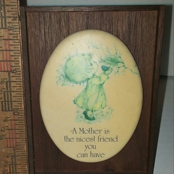Hallmark Cards Little Gallery Ceramica Plaque with Walnut Frame