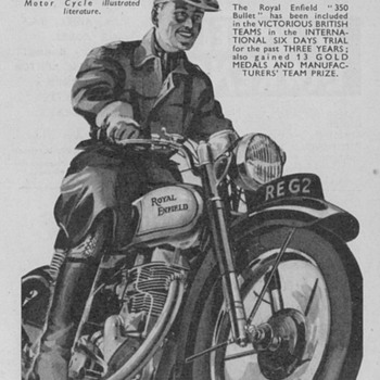 1950 - Royal Enfield Motorcycle Advertisement - Advertising