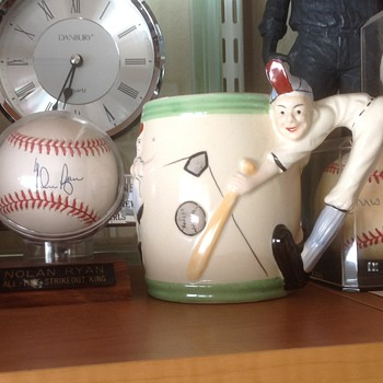 Ceramic Baseball Player Mug / Pen , Pencil Holder