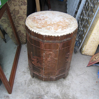 Asian hand carved drum found in a locker - Asian